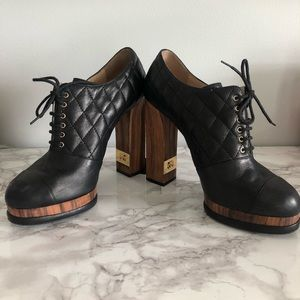 Chanel Quilted Leather Black Booties w/Block Heel